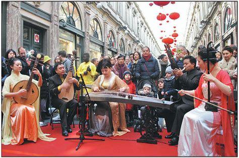 chinese  belgian artists perform   lantern hanging ceremony   saint hubert royal