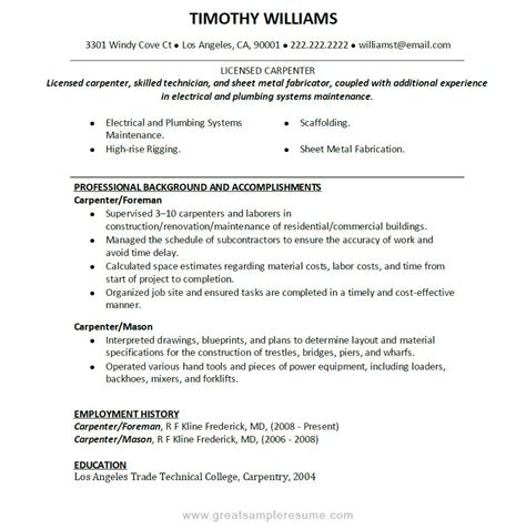 union carpenter resume sle professional background and