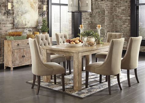 cohen s furniture new castle de mestler washed brown rectangular dining table w 6 light brown