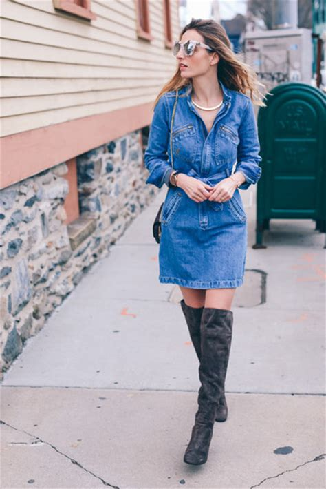 Dress prosecco and plaid blogger sunglasses denim dress knee high boots suede boots ...