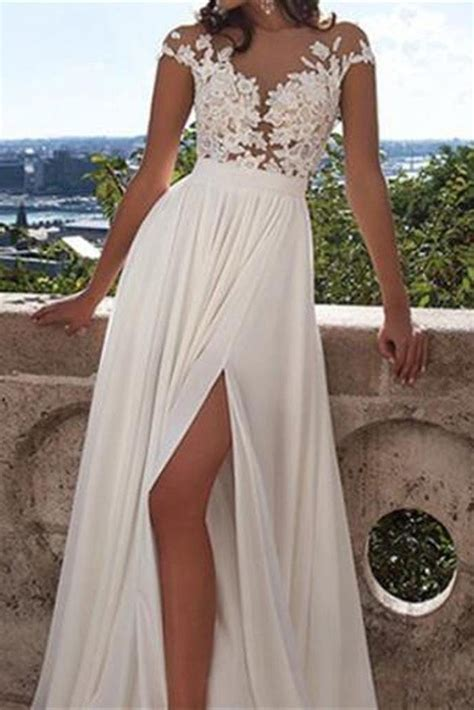long white lace   prom dresssexy wedding party dress