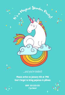 unicorn dreams sleepover party invitation template