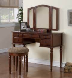 3pc bedroom makeup vanity set with table mirror stool in cherry finish pd4071 ebay