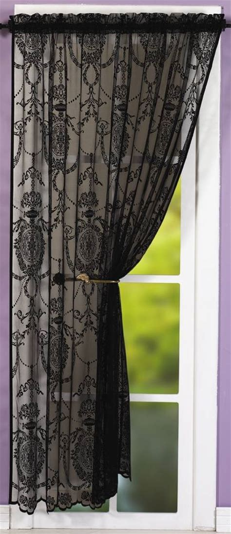 black lace panel net curtain 2 curtains