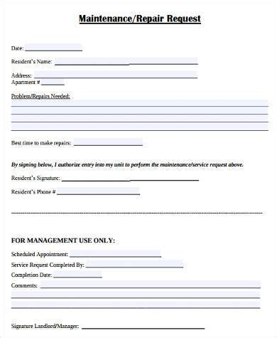 apartment maintenance forms maintenance request form sles 8 free documents in