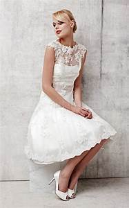 Short a line lace wedding dress with short sleeves sang for Lace short wedding dress