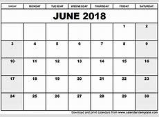 June 2018 Calendar Template blank calendar templates