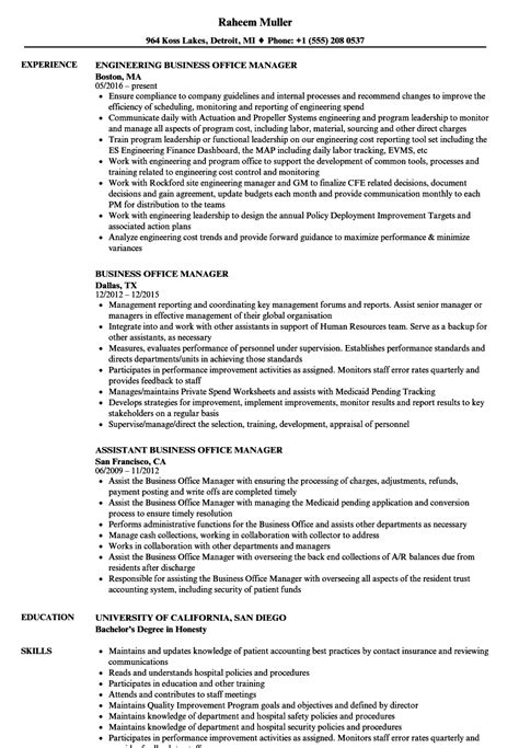 Business Manager Resume by Sle Resume Business Office Manager Office Manager Resumes