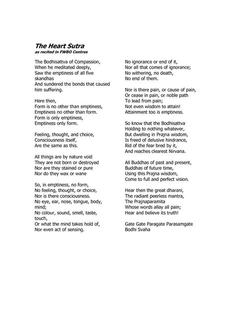 English translation of the Heart Sutra - I love the bit