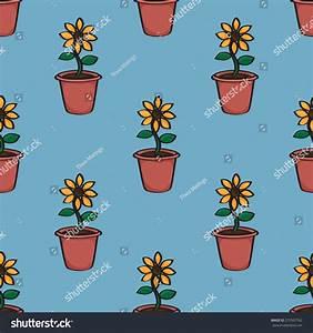 Seamless Background Tile Pattern Cartoon Sunflowers Stock ...
