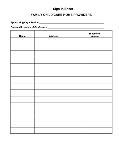 Childcare Sign In Sheet Template by Parent Sign In Sheet Template For Child Care Program Vlashed