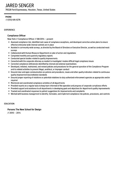 Compliance Officer Resume by Compliance Officer Resume Sle Velvet