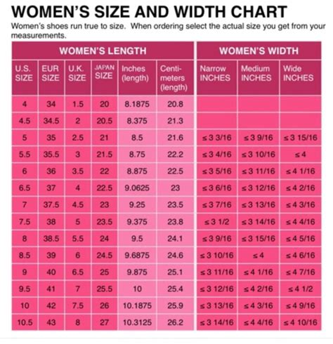 womens shoe size conversion chart  uk eu japanese printed  mailed   ebay