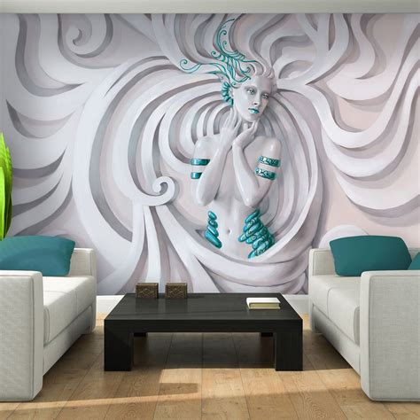 Fototapete Wall by Photo Wallpaper 3d Low Relief Medusa In Blue Wall Mural
