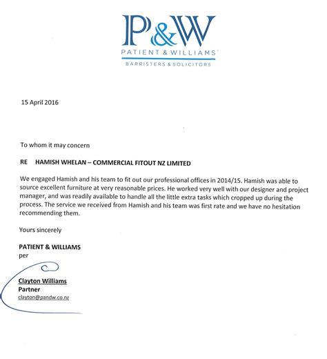 commercial fitout nz reference letter