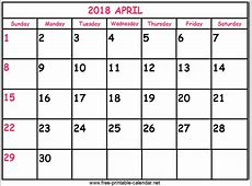 Print Calendar 2018 April