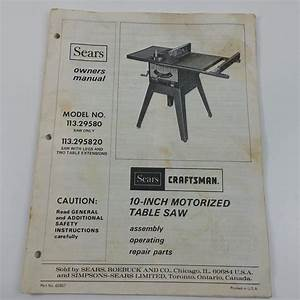 Sears Craftsman 10 Inch Motorized Table Saw Owners Manual