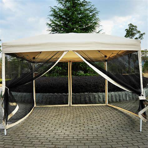 outdoor gazebo canopy  pop  party tent mesh mosquito net patio tan  ebay