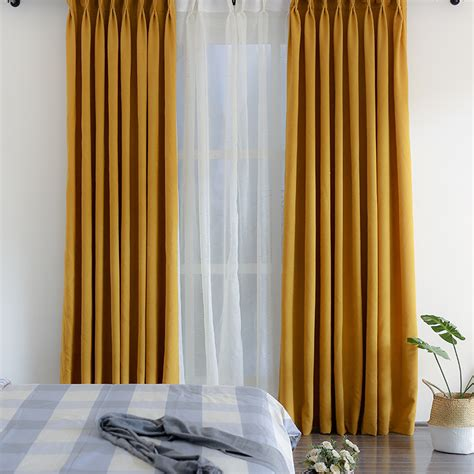 solid mustard yellow curtains simple minimalist thermal