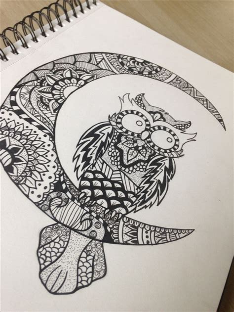 mandalazentangle owl drawn   owls drawing owl tattoo design owl tattoo