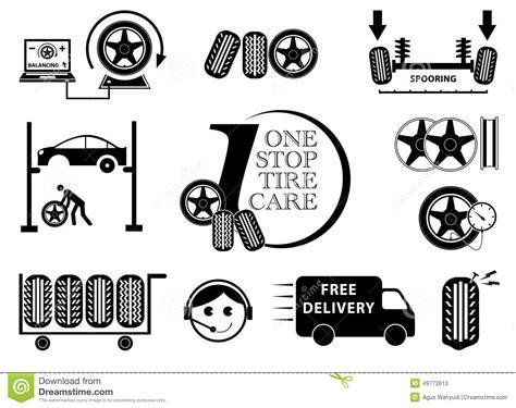 Tire Car Service Maintenance Icon Set Stock Illustration