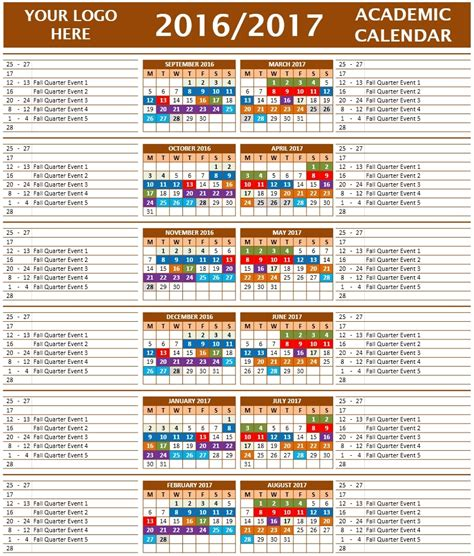 school calendar template 2016 2017 school calendar templates microsoft and open office templates