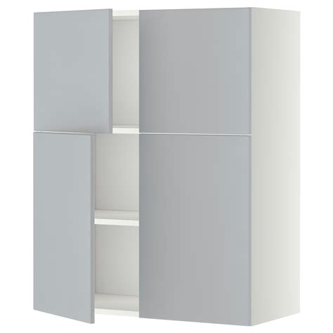 ikea gray kitchen cabinets metod wall cabinet with shelves 4 doors white veddinge