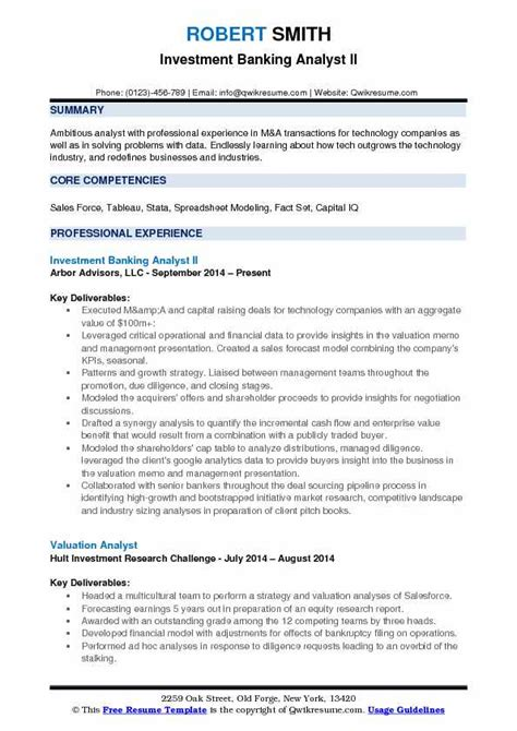 Investment Banking Analyst Resume Pdf by Investment Banking Analyst Resume Sles Qwikresume