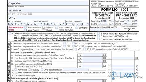 Form Mo 1120s Missouri S Corporation Income Franchise Tax