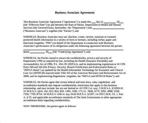 business associate agreement template 2016 7 business associate agreement templates sle templates
