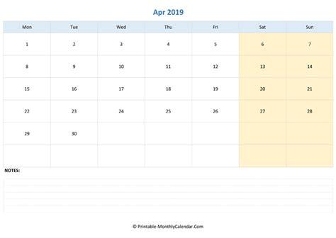 april editable calendar notes landscape layout