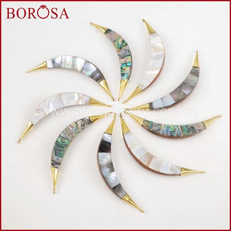 borosa pcs gold color multi kind shell natural wood