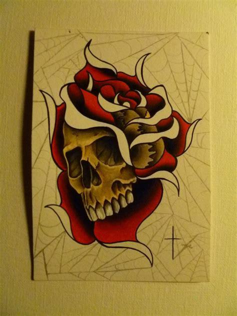 rose  spider web  skull tattoo design