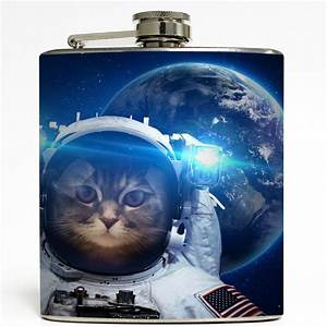 Cat Astronaut Flask - 6 oz Stainless - Liquid Courage ...