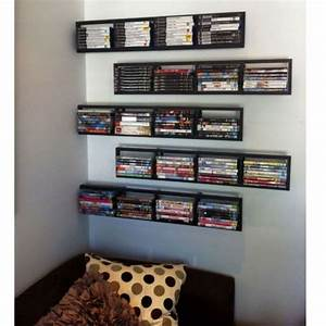 2 Black Lerberg CD DVD Rack Shelf Wall Mount Metal Steel ...