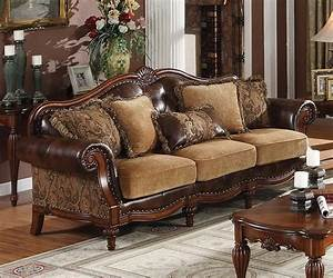 Traditional Sofas | dreena traditional bonded leather and ...