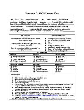 siop lesson plan healthy  unhealthy foods   plan