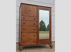 Antique Oak Clawfoot Mirrored Chifferobe Wardrobe Armoire