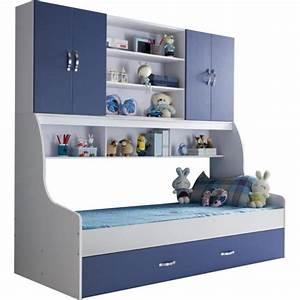 lit enfant bleu 90x200 avec tiroir et rangement mural With chambre bébé design avec back2flow avis