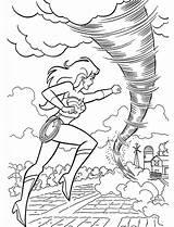 Tornado Coloring Pages Fights Wonderwoman sketch template