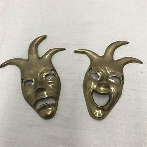 Vintage India Brass Comedy And Tragedy Masks Wall Decor