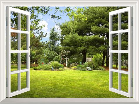 peel and stick wallpapaer collage removable large wall mural creative wall decal garden view