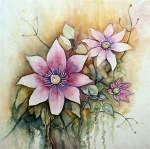 Aquarell Malen Blumen : bild clematisbl hten blumen aquarell von burkhard ~ Articles-book.com Haus und Dekorationen