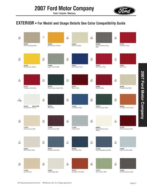2007 ford fusion paint colors