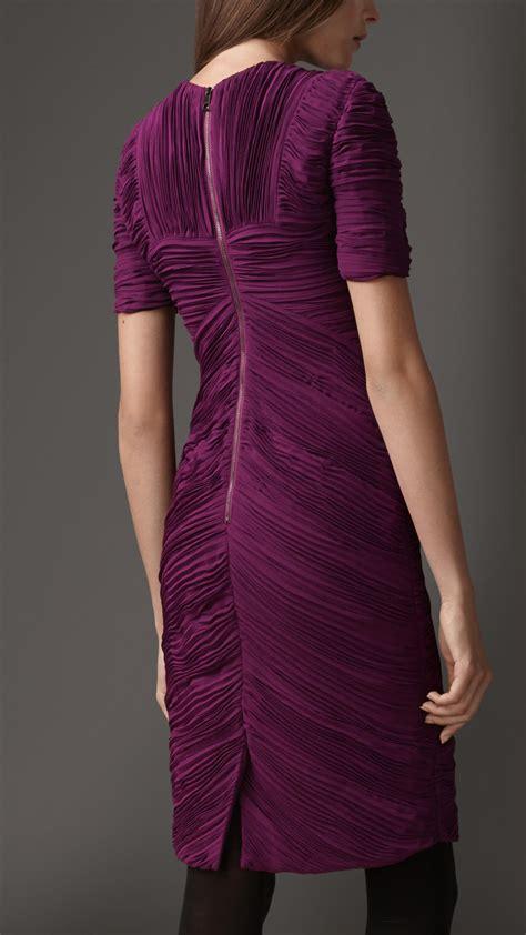 burberry pleated chevron dress  deep purple amethyst