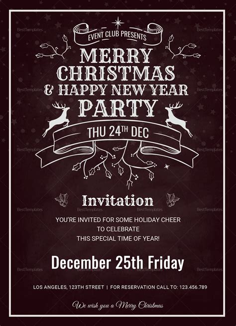 Christmas Holiday Invitation Card Template in Adobe Photoshop