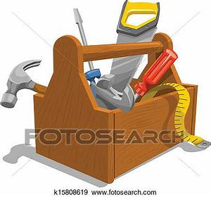 Clip Art of Vector of wooden toolbox with tools. k15808619 ...
