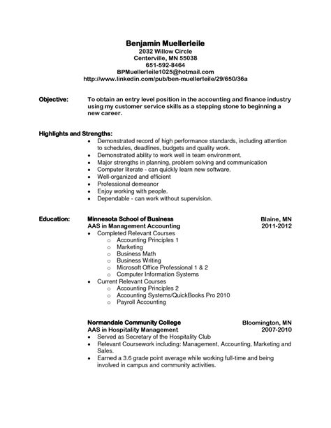 12724 objective for resume entry level resume objectives exle for level entry