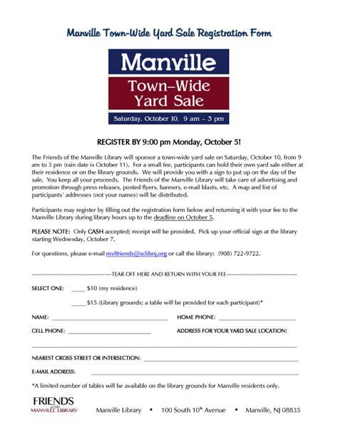 Garage Sale Register by Manville Borough Nj Official Website