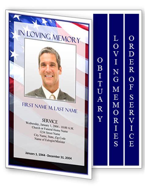 patriotic  funeral program template  page graduated